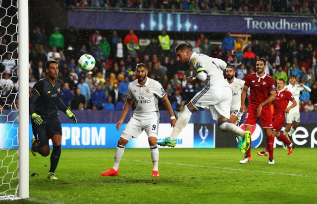 TRONDHEIM, NORWAY - AUGUST 09: Sergio Ramos of Real Madrid scores his team's second goal during the UEFA Super Cup match between Real Madrid and Sevilla at Lerkendal Stadion on August 9, 2016 in Trondheim, Norway.  (Photo by Michael Steele/Getty Images)